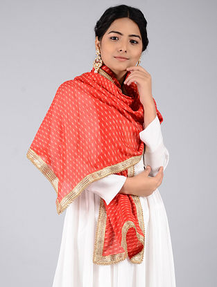 Red-Ivory Leheriya Kota Silk Stole with Gota Patti Border