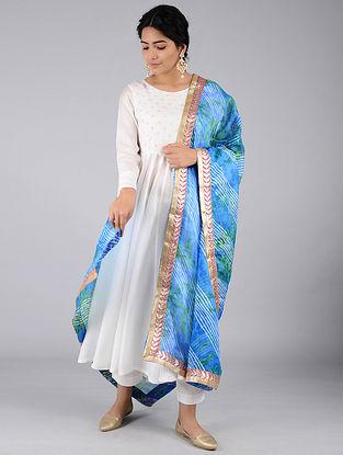 Blue-Green Leheriya Kota Silk Dupatta with Gota Patti Border