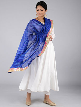 Blue-Ivory Leheriya Kota Silk Dupatta with Gota Patti Border