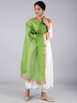 Green-Yellow Leheriya Kota Silk Dupatta with Gota Patti Border