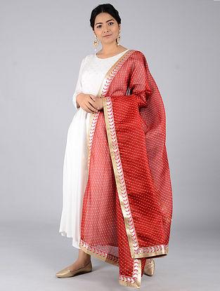 Red-Ivory Leheriya Kota Silk Dupatta with Gota Patti Border