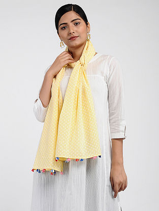 Yellow-Ivory Printed Cotton Dobby Stole with Tassels