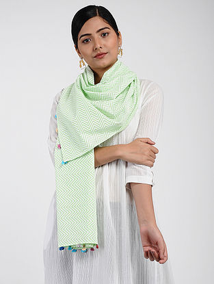 Green-Ivory Printed Cotton Dobby Stole with Tassels