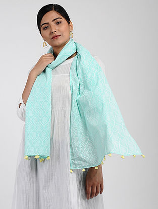 Sea Green-Ivory Printed Cotton Dobby Stole with Tassels