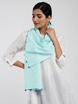 Blue-Ivory Printed Cotton Dobby Stole with Tassels