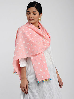 Pink-Ivory Printed Cotton Dobby Stole with Tassels
