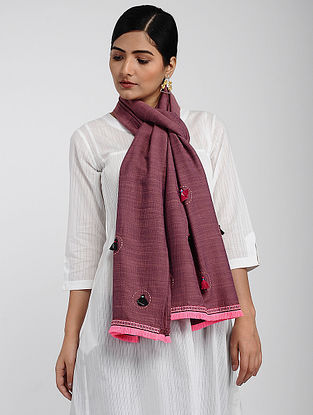 Maroon Muslin Cotton Stole with Hand-work