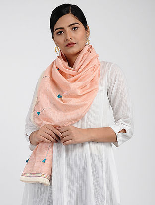 Peach Muslin Cotton Stole with Hand-work