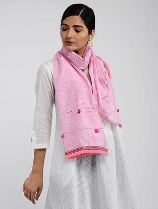 Pink Muslin Cotton Stole with Hand-work
