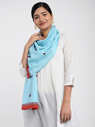 Blue Muslin Cotton Stole with Hand-work
