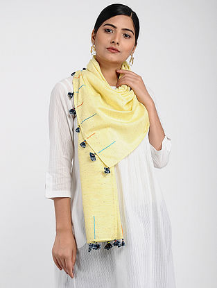 Yellow Muslin Cotton Stole with Hand-work