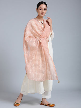 Peach-Ivory Hand-embroidered Kota Silk Dupatta with Tassels