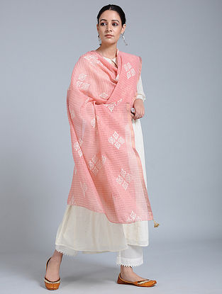 Pink-Ivory Hand-embroidered Kota Silk Dupatta with Tassels