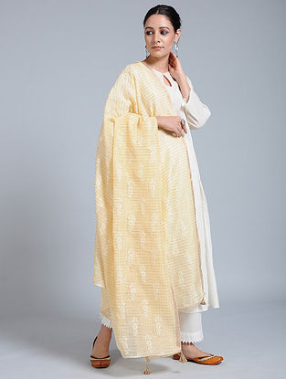 Yellow-Ivory Hand-embroidered Kota Silk Dupatta with Tassels