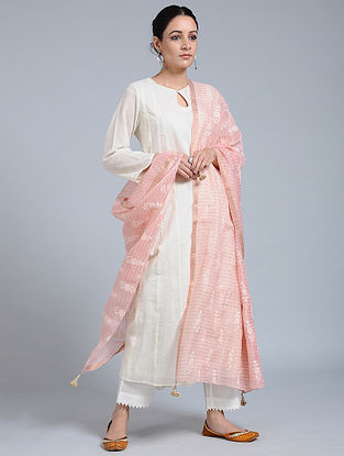 Pink Hand-embroidered Kota Silk Dupatta with Tassels