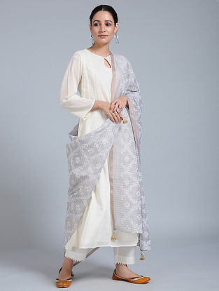 Grey-Ivory Hand-embroidered Kota Silk Dupatta with Tassels