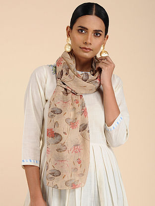 Beige-Red printed Linen Jute Stole