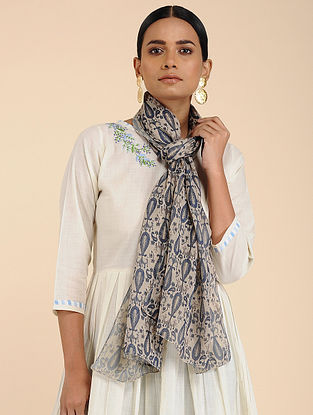 Ivory-Blue printed Linen Jute Stole