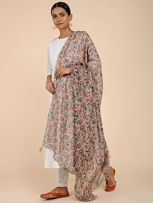 Ivory-Red printed Linen Jute Dupatta