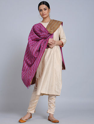 Pink-Brown Kantha Embroidered Silk Dupatta