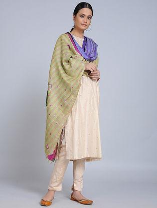 Multicolored Kantha Embroidered Silk Dupatta