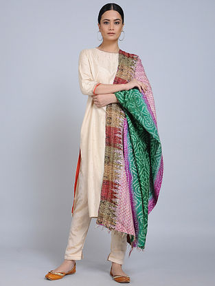 Multicolored Kantha Embroidered Silk Dupatta