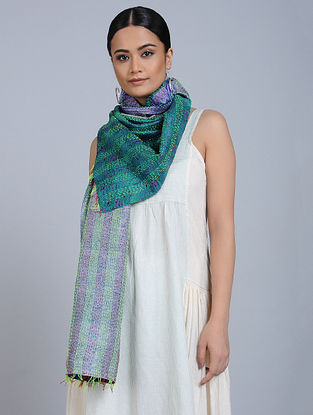 Multicolored Kantha Embroidered Silk Stole