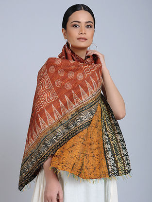 Brown Kantha Embroidered Silk Stole