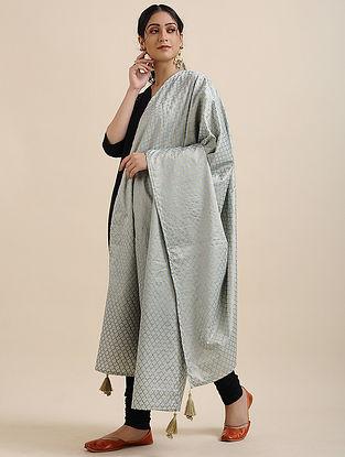 Grey Foil Printed Linen Satin Dupatta