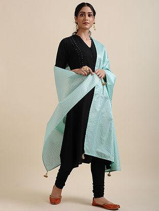 Blue Foil Printed Linen Satin Dupatta