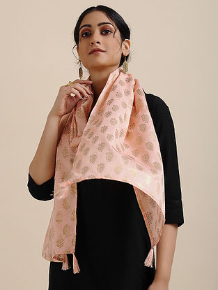 Pink Foil Printed Linen Satin Stole