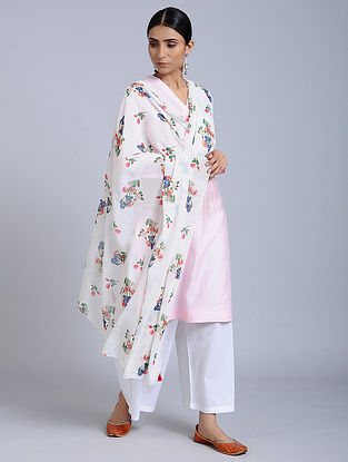 White Floral Printed Georgette Dupatta