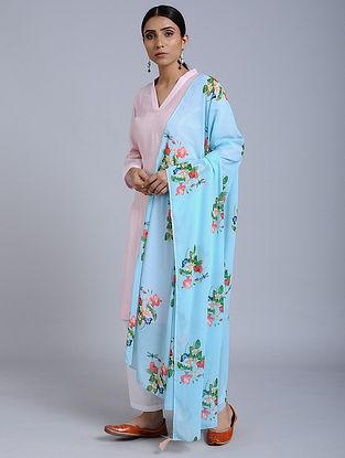 Blue Floral Printed Georgette Dupatta