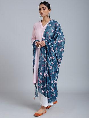 Blue-Pink Floral Printed Georgette Dupatta