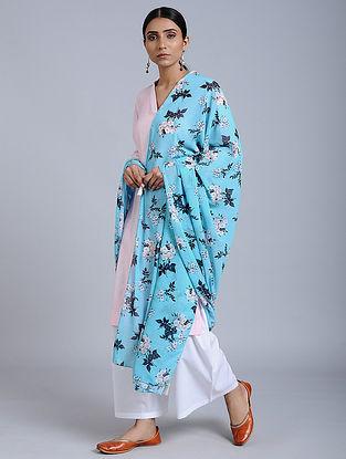 Blue-Ivory Floral Printed Georgette Dupatta