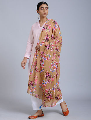 Brown Floral Printed Georgette Dupatta