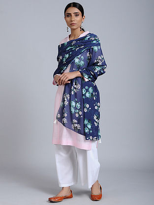 Blue-Green Floral Printed Georgette Dupatta