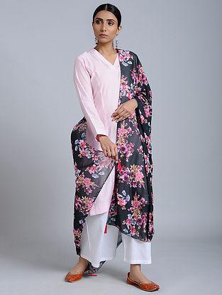 Black-Pink Floral Printed Georgette Dupatta