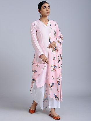 Pink Floral Printed Georgette Dupatta