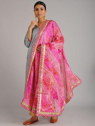 Pink Leheriya Kota Silk Dupatta with Gota Patti