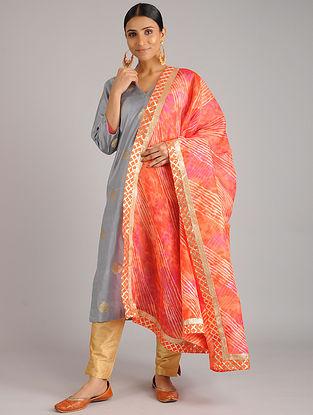 Orange-Pink Leheriya Kota Silk Dupatta with Gota Patti