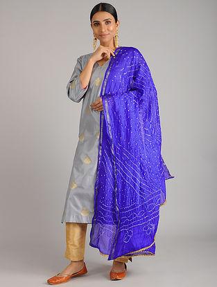 Royal Blue Bandhani Silk Dupatta with Gota Patti
