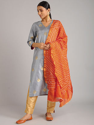 Orange Bandhani Silk Dupatta with Gota Patti