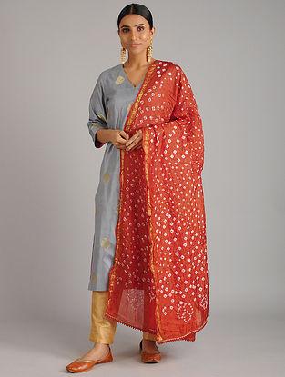 Red Bandhani Silk Dupatta with Gota Patti