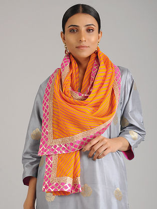 Yellow-Pink Leheriya Kota Silk Stole with Gota Patti