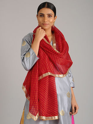 Red Leheriya Kota Silk Stole with Gota Patti