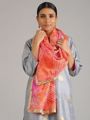 Peach-Pink Leheriya Kota Silk Stole with Gota Patti