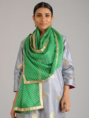 Green Leheriya Kota Silk Stole with Gota Patti