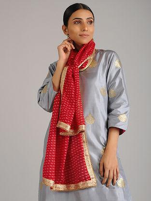 Red Leheriya Kota Silk Stole with Gota Patti