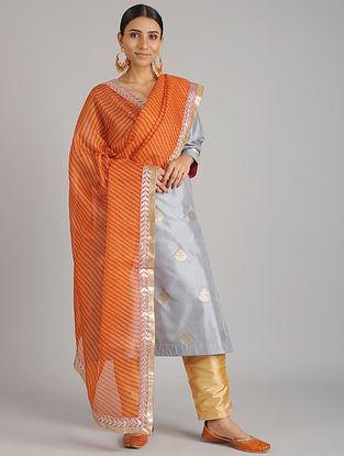 Orange-Red Leheriya Kota Silk Dupatta with Gota Patti